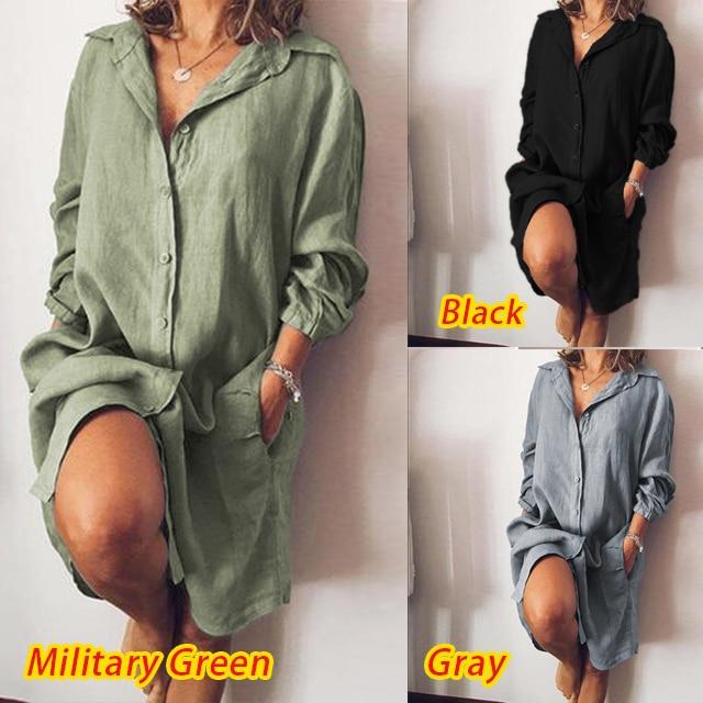 2021 Autumn Lapel Neck Long Sleeve Shirt Dress Women Elegant Buttons Work OL Vestido Female Solid Cotton Linen Sundress Blusas