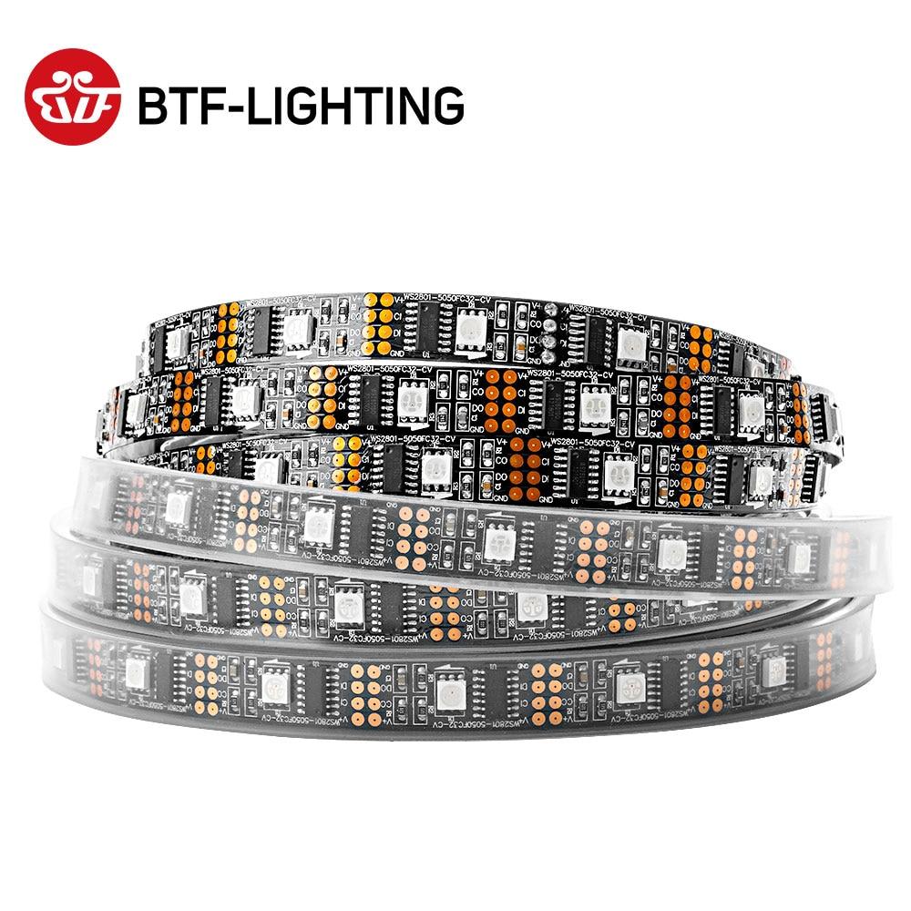 Ws2801 dc5v 1m/2m/3m/4m/5m 32leds/m 2801 chip led 5050 rgb tira 12mm fita endereçável individualmente luz de cor de sonho completo ip67