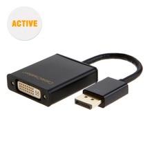 Câble (actif) DisplayPort vers adaptateur DVI, DP vers DVI-I, support multi-écrans Eyefinity, noir 15CM
