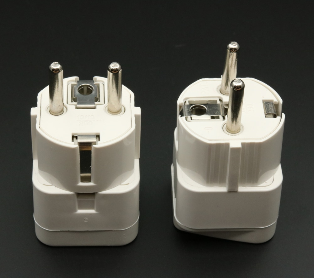 Купить с кэшбэком xintylink two round pin plug power socket 10A 16A Power outlet converters adapter plugs use in the Germany France Russia 2pcs