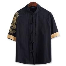 Coton lin hommes grande taille chemise style chinois 2xl-7XL 8XL 10XL gros gars grande taille décontracté à manches courtes chemise broderie