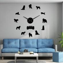 Leonberger Dog DIY Giant Wall Clock Puppy Postures Frameless Big Time Wall Clock Pet Vet Dog Store Decorative Silent Wall Watch