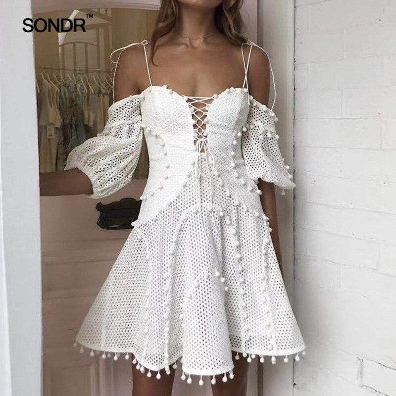 SONDR 2019 Fashion Strap Off The Shoulder Women White Beach Holiday A-line Dress