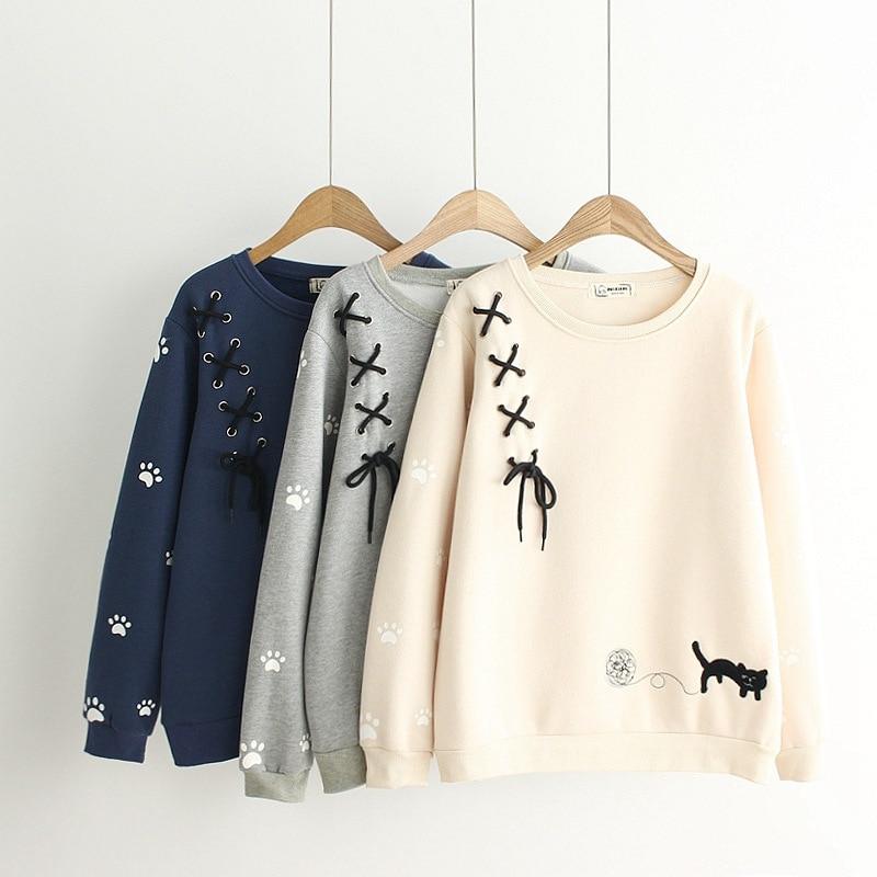 Japanische Sen Frauen Süße Casual stricken Schwarz Katze stickerei Samt Hoodies langarm Sweatshirts