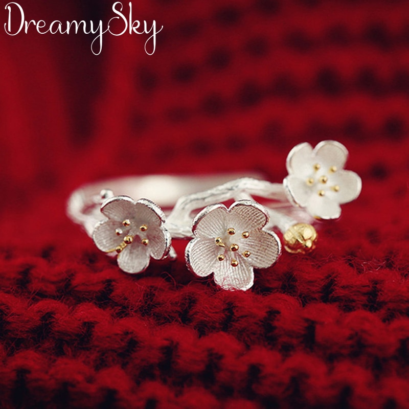 Anillos anelli bijoux flor de cerejeira de luxo do vintage da cor da prata anéis de flor para o casamento feminino