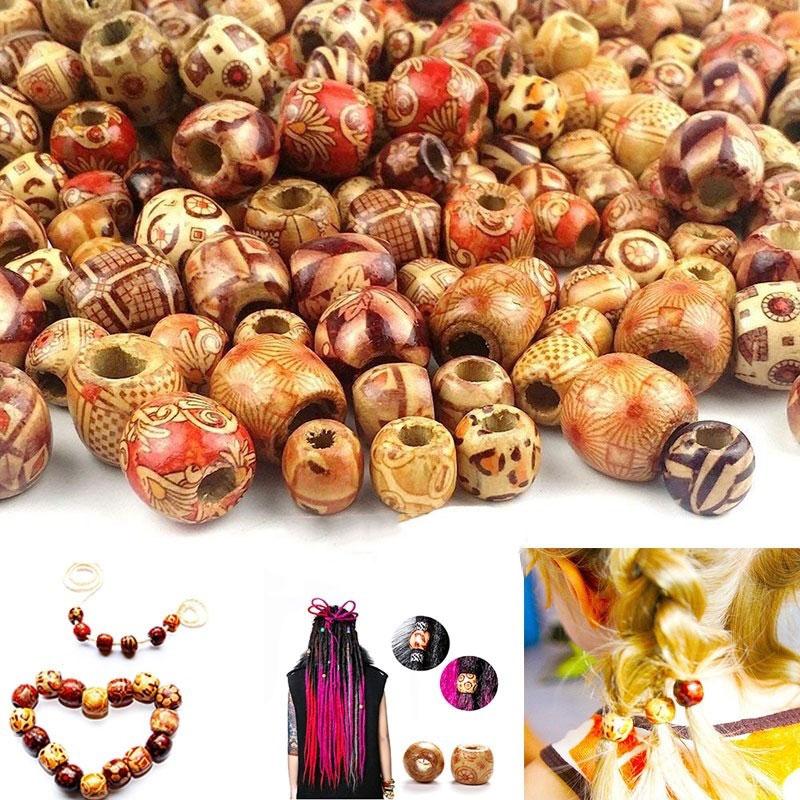 100 шт. антикварные деревянные бусины с этническим узором для изготовления ювелирных изделий дредлоки Diy бусины для деревянного браслета оже...