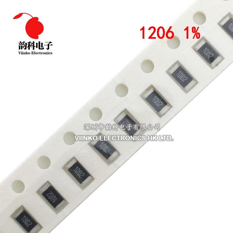 200 Uds 1206 SMD 1% de resistencia de 1,2 K ohm tipo Chip 0,25 W 1/4W 1,2 K 1K2 ohms