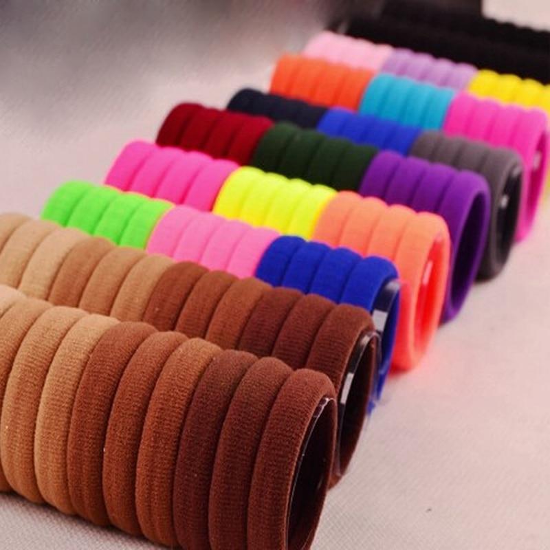 100 pçs preto/multicolorido elástico faixas de cabelo faixa de borracha para ornamentos de cabelo laços goma hairband headwear acessórios de cabelo