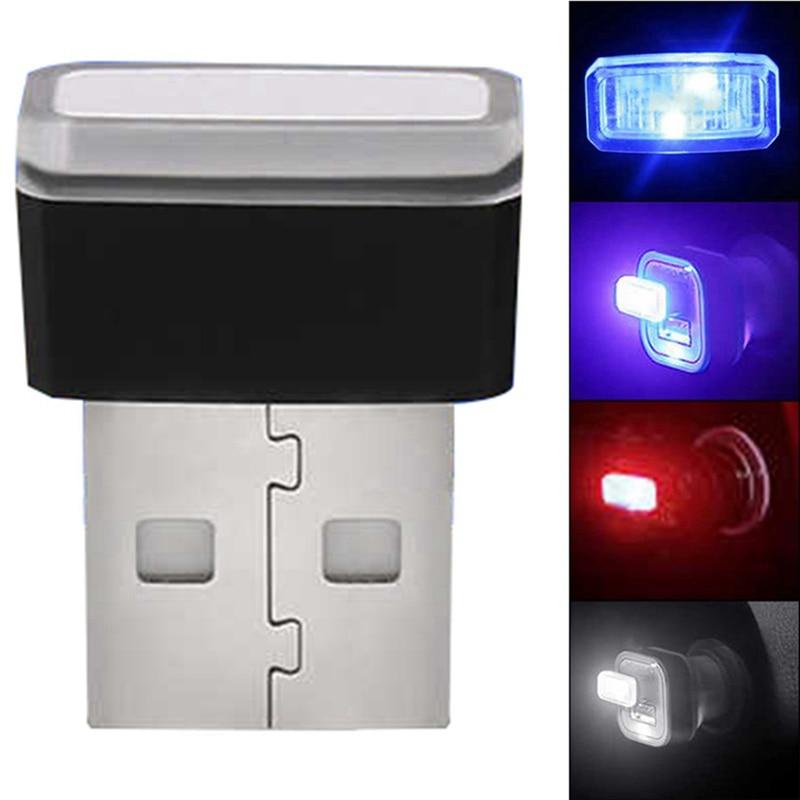 Car styling USB Decorative Lamp Lighting LED Atmosphere Lights Universal PC Portable Red/Blue/White/Purple