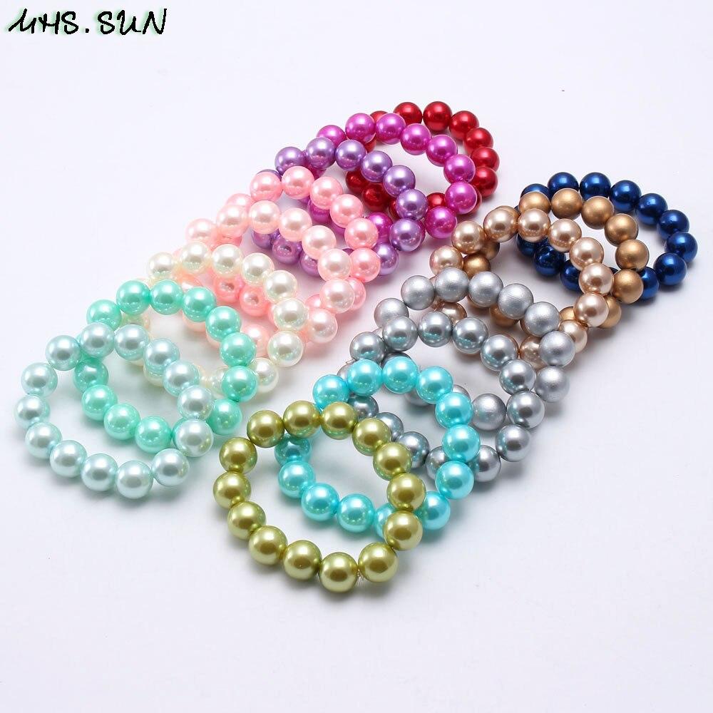 MHS Sol 1 pieza Encantadores Niños bebés elástica pulseras de cuentas hecho a mano chicle niñas perlas pulseras y brazaletes joyería de moda regalo