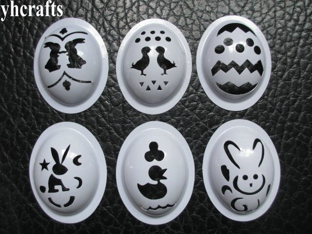 6 unids/lote. Mezcla de plástico huevo plantilla huevo molde pintura plantilla juguete para Pascua niños artesanía diy creativo manualidades de jardín de infancia