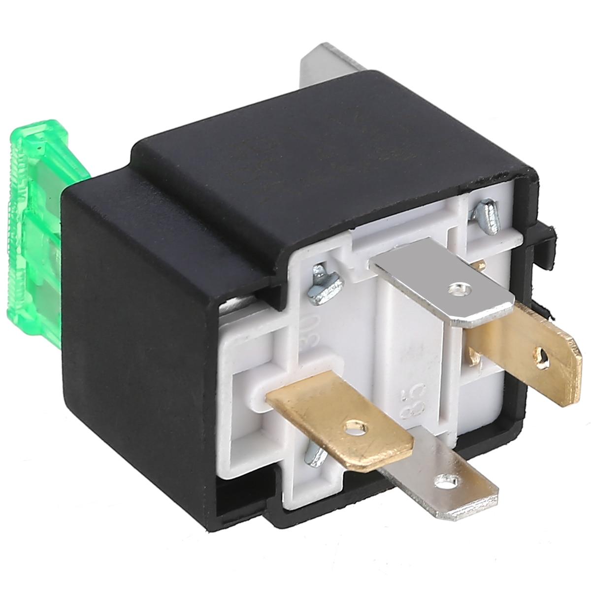 Mayitr, 1 pieza, relé de 12 V, 4 pines, para automóvil, profesional, 30 Amp, RY28, contacto normalmente abierto + fusible de 30 a para piezas interiores de coche
