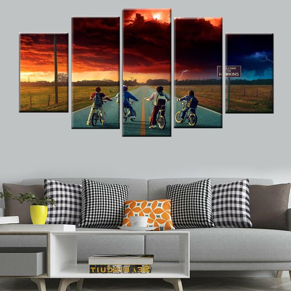 5 piezas pared arte sunrise bicicleta niños paisaje arte pared cartel lienzo pintura cartel nórdico impresión decoración del hogar