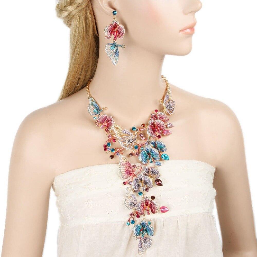 Tuliper Animal mariposa collar pendientes para las mujeres Iced-Out Crystal Jewelry Set fiesta regalo collar mujer chapado en oro