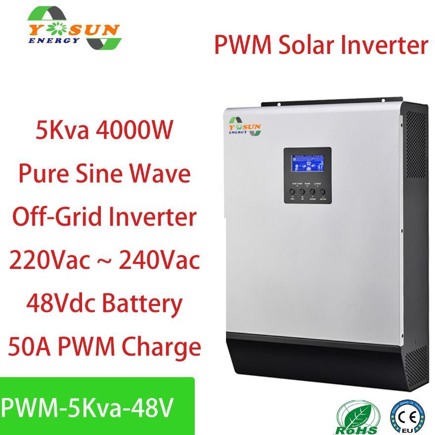الطاقة الشمسية العاكس 4000 واط 50A PWM قبالة الشبكة العاكس 5Kva نقية شرط لموجة العاكس 48 فولت إلى 220V ~ 240Vac العاكسون 60A شاحن تيار متردد