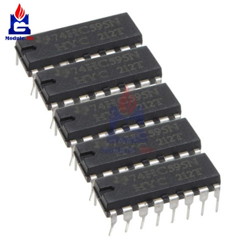 5 unids/lote Chips CI SN74HC595N 74HC595 74HC595N HC595 DIP-16 8 poco registro IC para