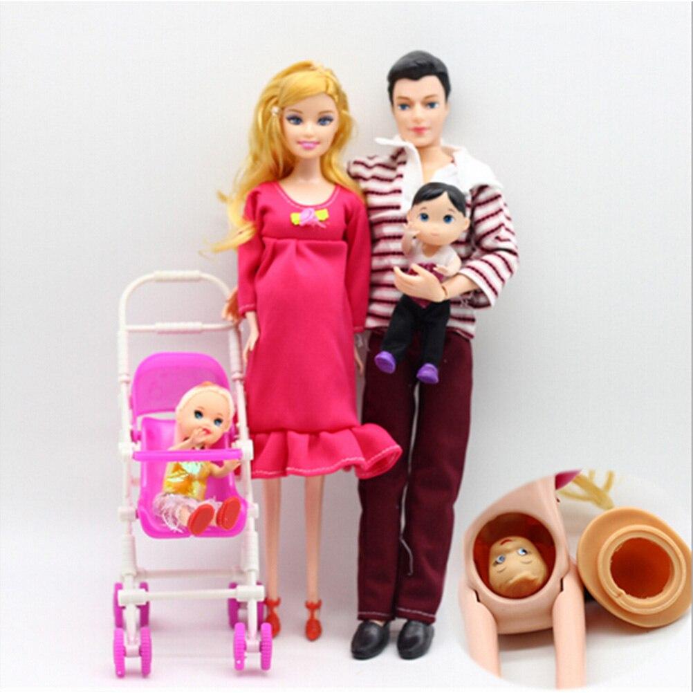 Игрушки для всей семьи, куклы 5 человек, костюмы, 1 мама/1 Папа/2 маленькая девочка, 1 малыш, сын/1 детская коляска, настоящая Беременная кукла, по...