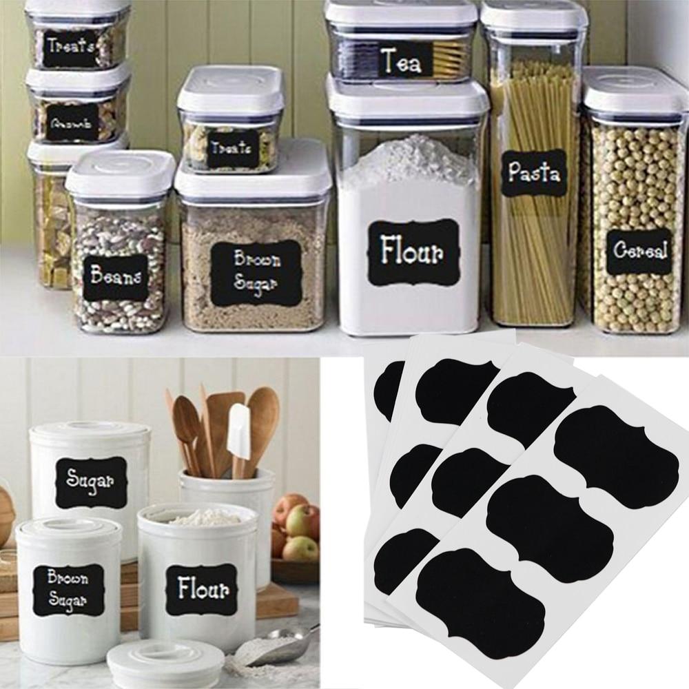 36 unids / set etiqueta de pizarra estilo artesanal frascos de cocina - Organización y almacenamiento en la casa