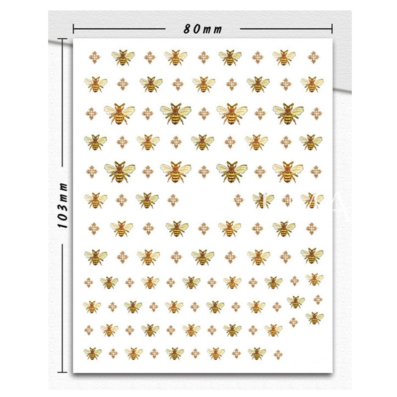 1 sheet Gold Bee 3D Nail Art Stickers Cute Animal Bee Nail Stickers Transfer Sticker Adhesive Paper DIY Nail Art Decorations