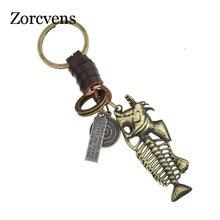 ZORCVENS 2020 Genuine Leather Punk Retro Alloy fish bone Pendant Key Chain wholesales