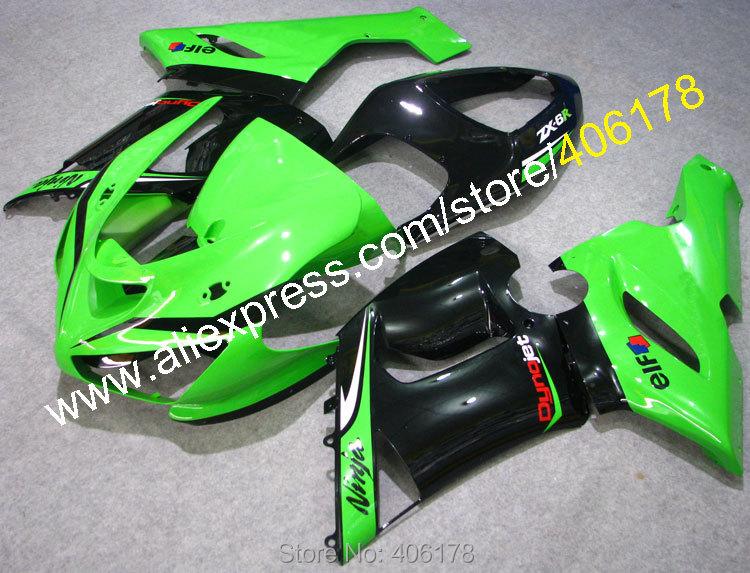 Kit carenagem para ninja zx6r 636 05 06 ZX-6R 2005 2006 zx 6r verde preto carenagens kits (moldagem por injeção)