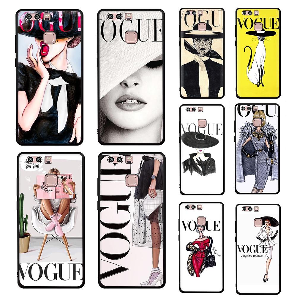 Vogue Coque Soft Silicone phone case for Huawei P8 P9 Lite Mini P10 P20 P30 P40 Pro Max Lite P Smart Z Plus