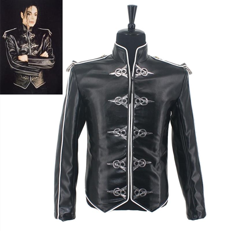 جاكيت جلدي ضيق ، أزياء MJ Michael Jackson ، Classic Black V8 Punk Moto ، 1992