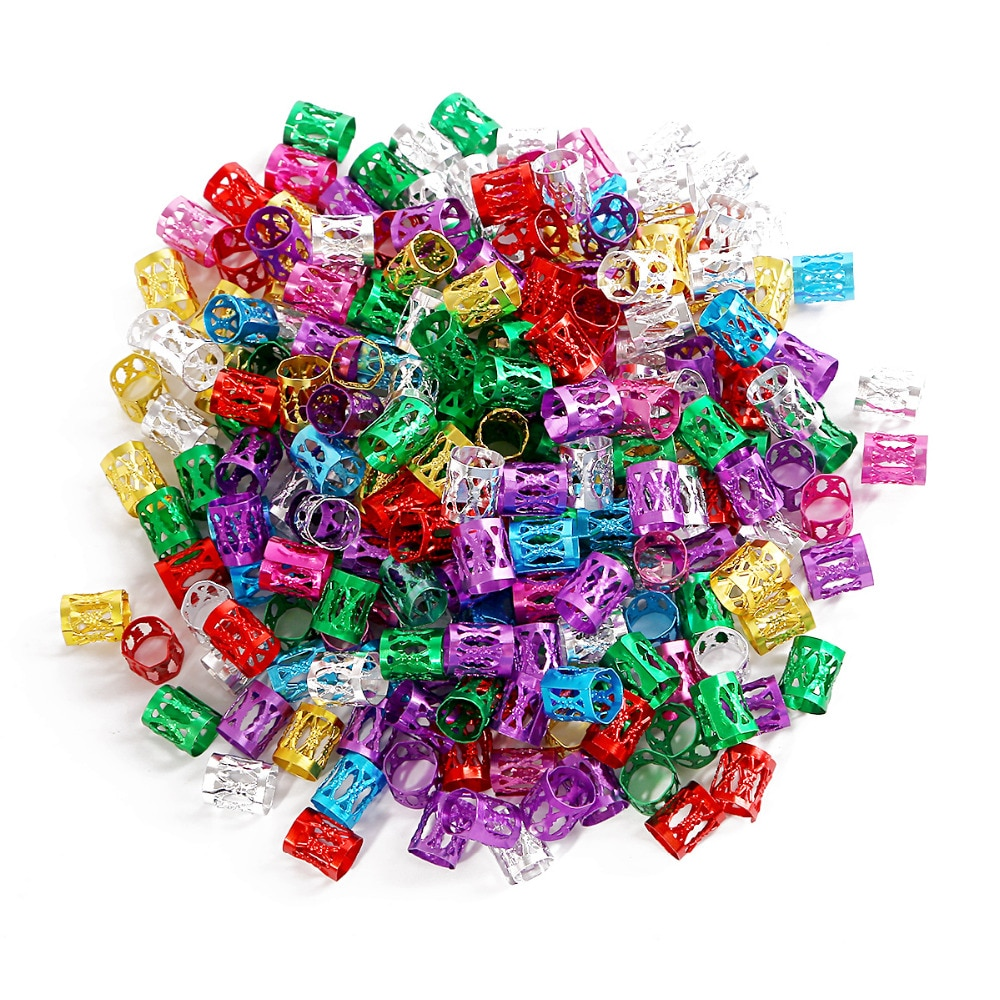 100pcs 8*9mm 8 colors Mixed Beads Adjustable Hair Braids Beads Adjustable Hair Braid Rings Cuff Clip