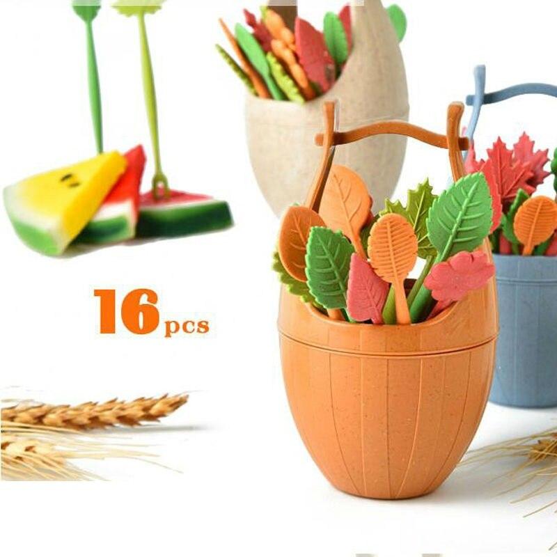 16 unids/set Etiqueta de hojas de fruta con soporte barril pastel postre comida fruta Pick útil para boda fiesta decoración del hogar Cocina