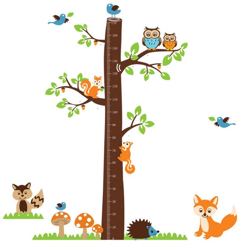 Купить с кэшбэком Cartoon Animals Squirrel Height Scale Tree Height Measure Wall Sticker For Kids Rooms Growth Chart Nursery Room Decor Wall Art