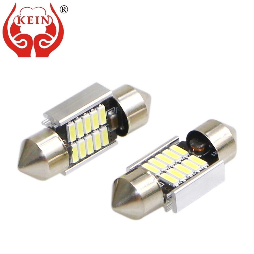 KEIN 2 шт. гирлянды светодиодные автомобильные лампочки Canbus без ошибки 31/36/39/41 мм C3W C5W C10W 4014 авто номерной знак лампа для чтения светильник авто...