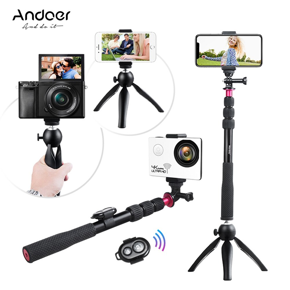 Palo de Selfie Andoer + Mini trípode + soporte de trípode de teléfono + Control remoto inalámbrico para iPhone X/8/7 Plus para Samsung S8 para GoPro Hero