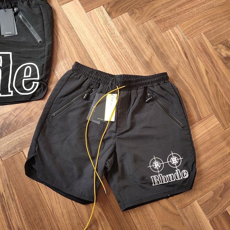 2019 RHUDE Neon Target Shorts Summer Loose NYLON Men Hip Hop Wade RHUDE Shorts Drawstring zipper Green White Print Mesh Trousers недорого