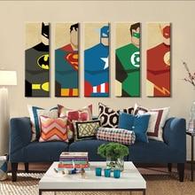 Pintura en lienzo de Superman, 5 piezas, superhéroe, decoración de pared moderna de hogar, lienzo artístico, impresión en HD, imágenes de pared para dormitorio infantil sin marco