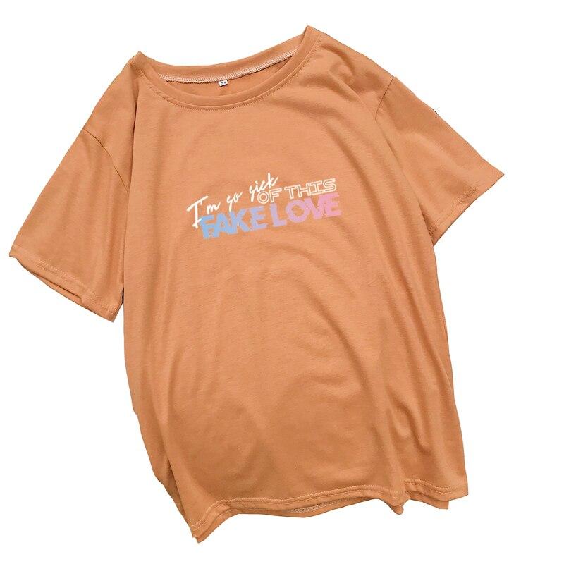 Kpop fake love 편지 인쇄 여름 t 셔츠 여성 반팔 패션 캐주얼 하라주쿠 tshirt streetwear 티 셔츠 femme 탑스
