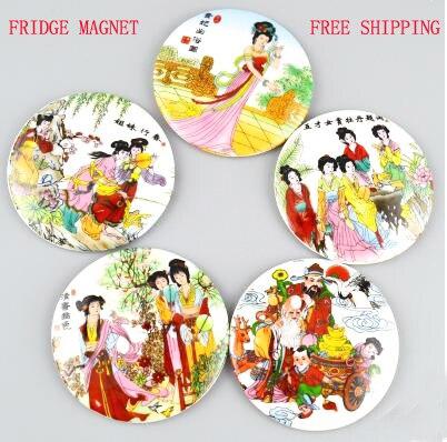 (5 unids/lote) imán de cerámica para frigorífico de belleza clásica china