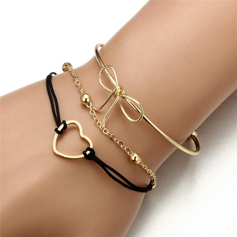 3 unids/set de brazalete Retro con colgante de corazón y lazo de oro pulsera abierta brazalete para mujer accesorios para fiestas y bodas