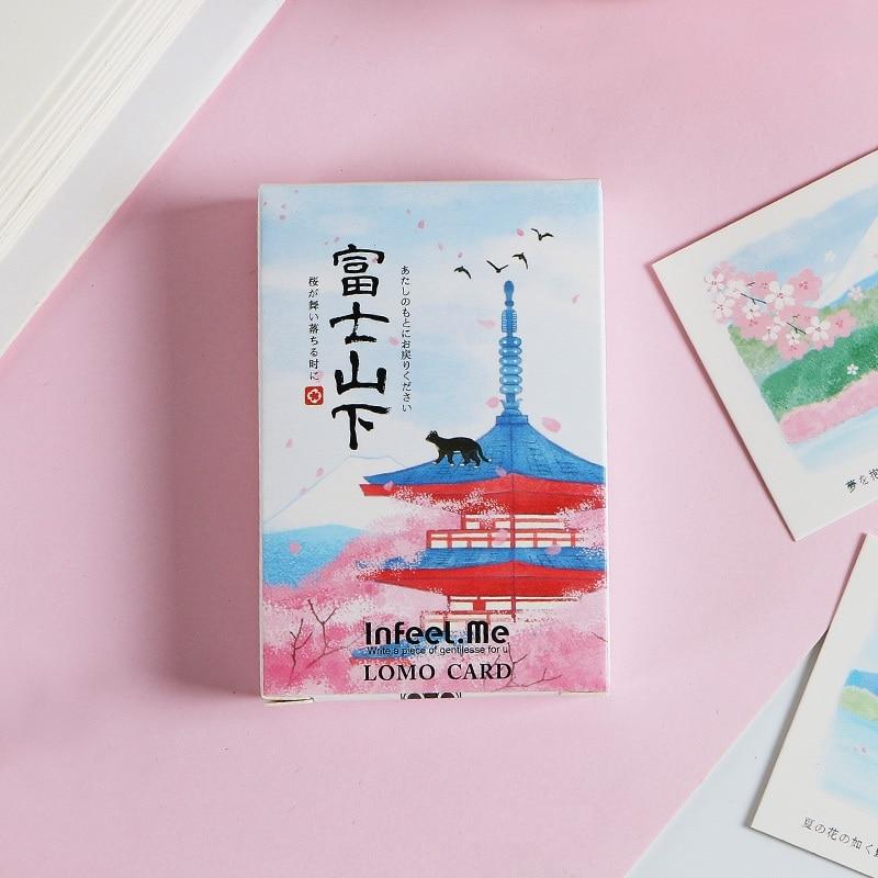 28 Sheets/Set Creative Mount Fuji Lomo Card Mini Postcard Greeting Card Kawaii Gift Stationery