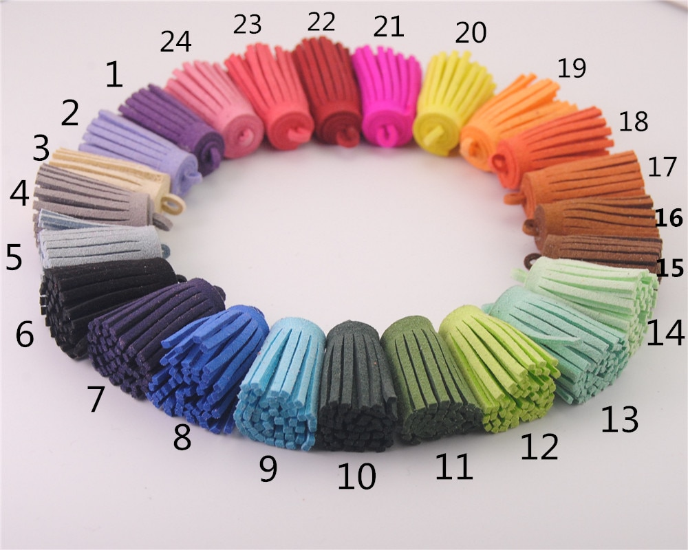 10 unids/lote 19 colores imitación ante abalorio de borla colgante DIY collar pulsera brazalete hallazgos joyería Accesorios