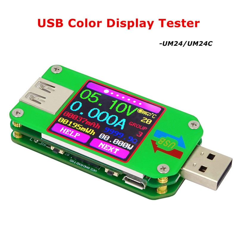 UM24 UM24C USB 2.0 kolor tester lcd voltje corriente miernik voltimetro amperimetro bateria medida resistencia del cable