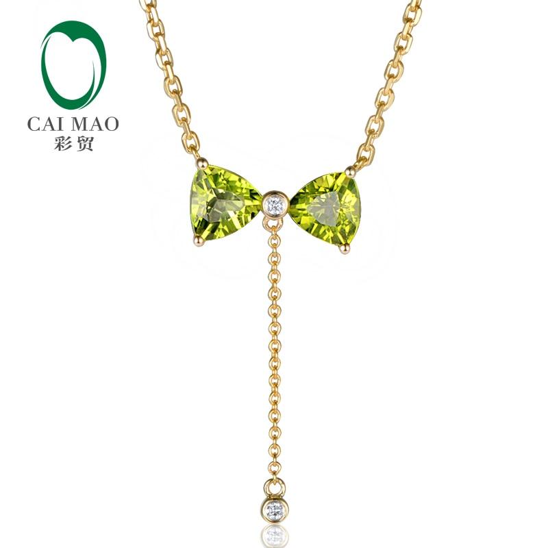 14K Yellow Gold 1.48ct Trillion Cut Peridot & 0.026ct Natural Diamonds Lovely Engagement Pendant Necklace