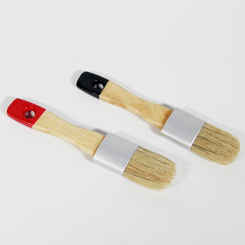 Juego de 2 piezas de herramientas de mano con mango de madera negra y tiza roja, pincel puntiagudo, pincel de cera para pintura al óleo con cerdas, suministros de arte para artistas