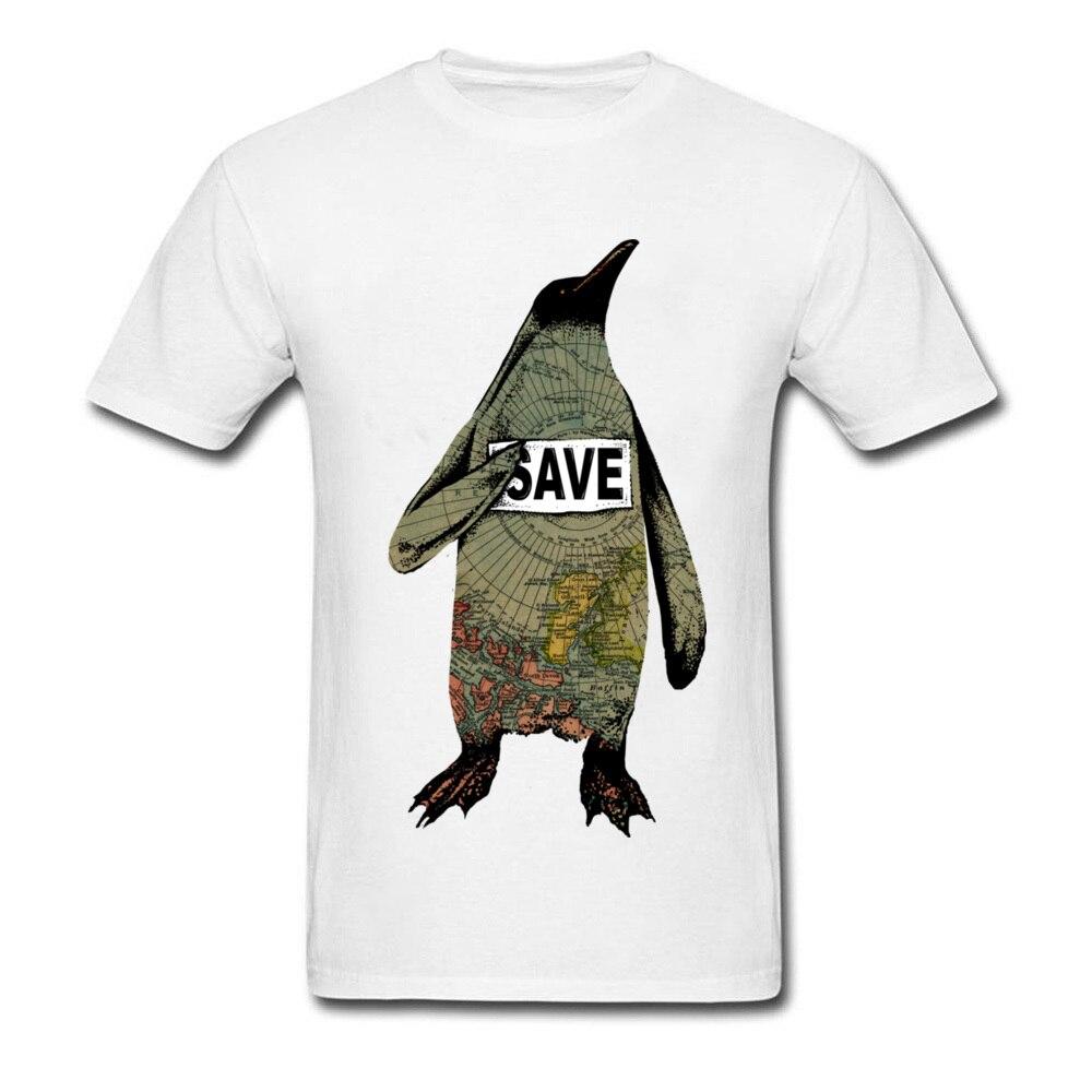 Diseño único mapa camiseta hombres Yakuza matemáticas algodón marca ropa Save South Pole camisetas pingüino verano otoño Tops y camisetas