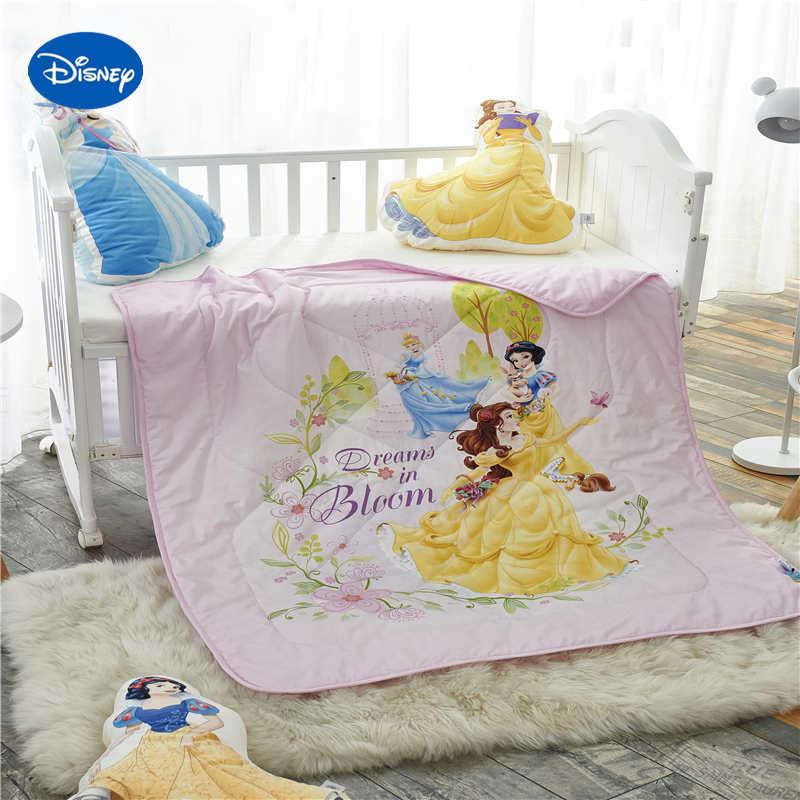 مفرش سرير بطبعة أميرة ديزني ، بياضات سرير 100% قطن ، 120 × 150 سنتيمتر ، زينة لسرير الأطفال