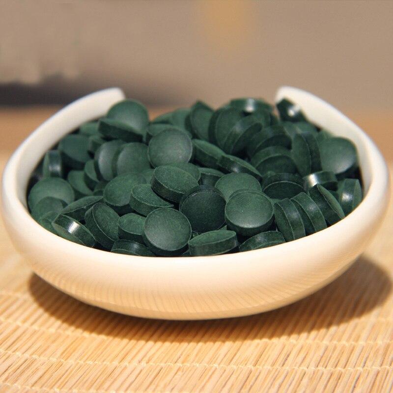 Green Food Health 1000 píldoras calidad aprobado Anti-fatiga Anti-radiación mejorar-inmune 250g verde Natural Spirulina salud té