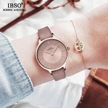 Женские ультратонкие кварцевые часы IBSO, кварцевые часы из натуральной кожи, 8 мм