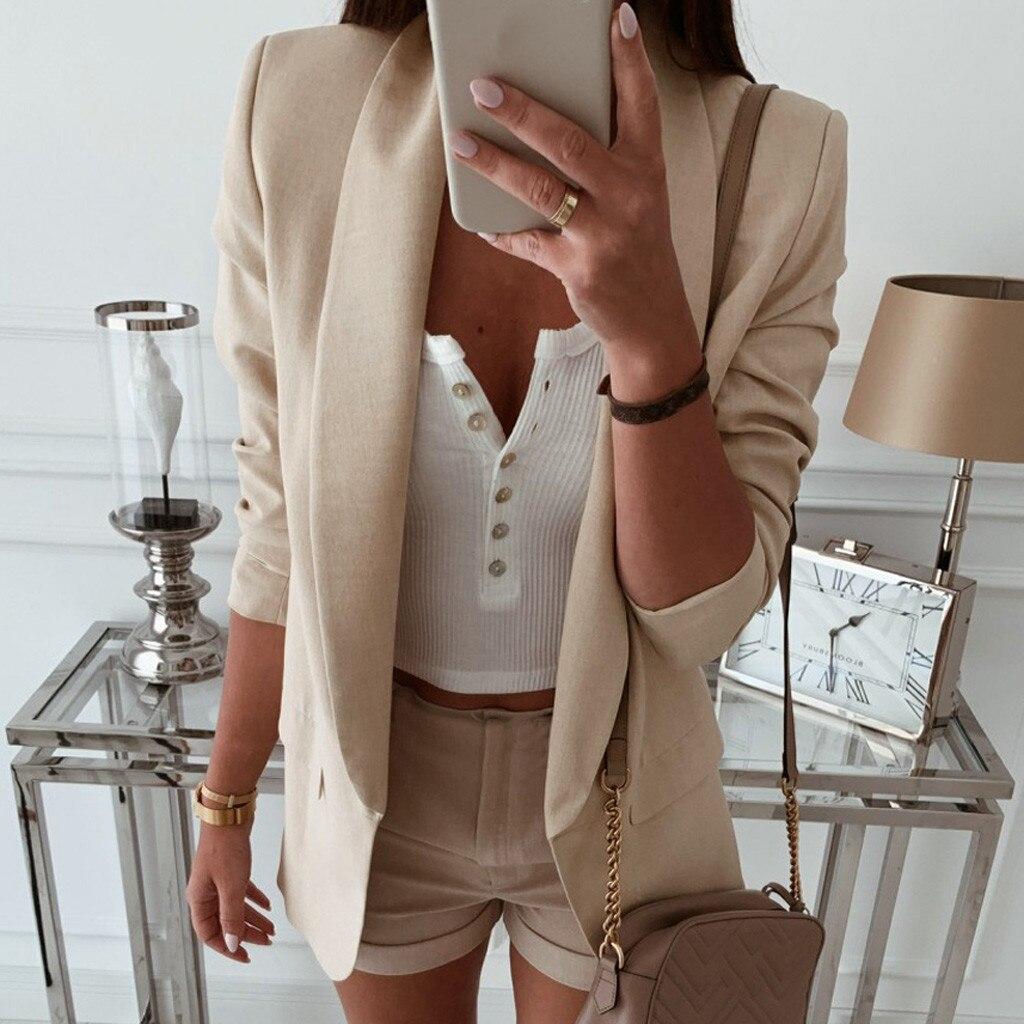 veste blazer For Women formal Wear Coat Loose Blazer Top Long Sleeve Casual office Jacket Ladies Plu