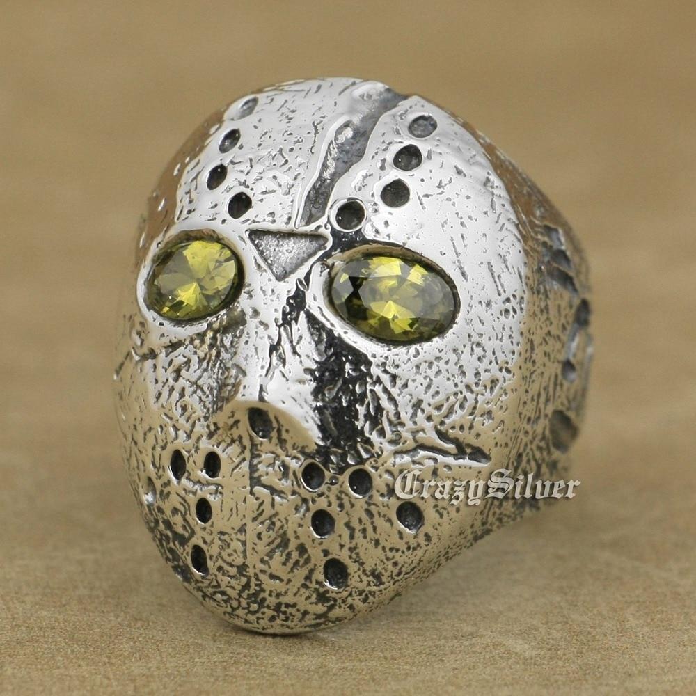 Máscara de Jason para Halloween Black Olive Eyes 925 anillo de plata esterlina para hombre 9D104 tamaño de EE. UU. 7 ~ 15