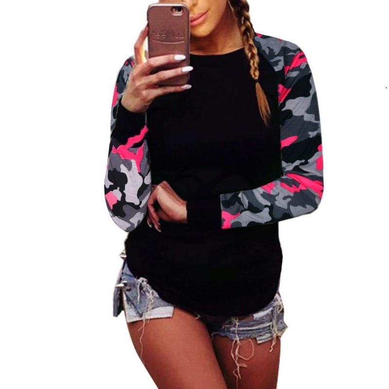 Zmvkgsoa cuello redondo mujeres otoño Tops camuflaje estampado manga larga empalme estilo europeo moda camisetas Top talla grande 5XL K6141
