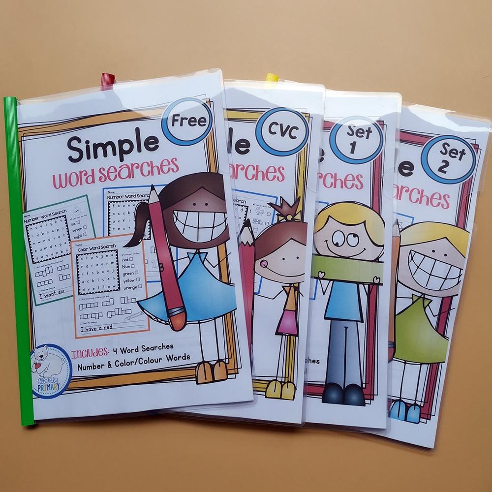 Juguetes educativos para niños aprender inglés palabra simple búsqueda Paquete de hojas de trabajo interactivo fonética para colorear libro de prácticas de los niños